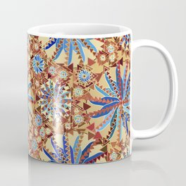 Tribal Mandala Print, Camel Tan and Denim Blue Coffee Mug