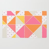girly Area & Throw Rugs featuring Girly Geometry by micklyn