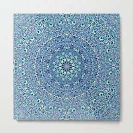 Light Blue Floral Life Mandala Metal Print
