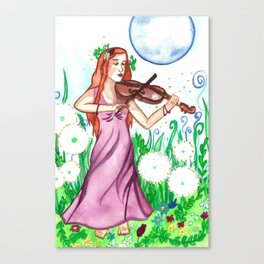 Fiddler and the Moon Canvas Print