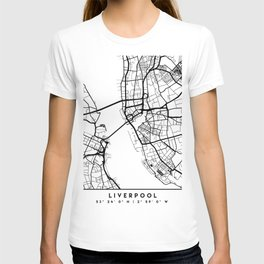 LIVERPOOL ENGLAND BLACK CITY STREET MAP ART T-shirt