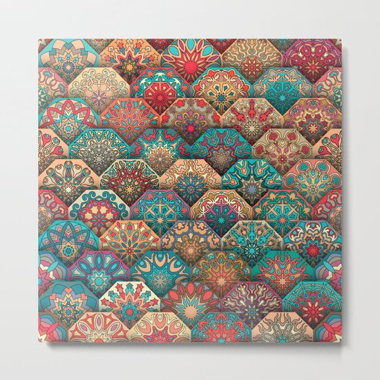 Vintage patchwork with floral mandala elements Metal Print