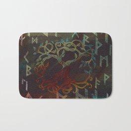 Tree of life  -Yggdrasil - and runes Bath Mat