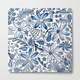 Navy Blue Flower Garden - Hand Drawn Vector Florals Metal Print