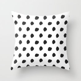 Black white hand painted watercolor polka dots Throw Pillow