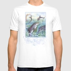 Dolphins Mens Fitted Tee White MEDIUM