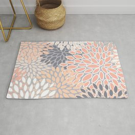 Flowers Abstract Print, Coral, Peach, Gray Rug