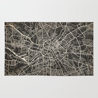manchester Area & Throw Rugs featuring manchester map ink lines by NJ-Illustrations