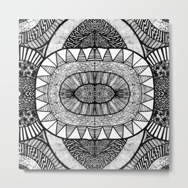 Jet Black Tangled Mania Pattern Doodle Design Metal Print