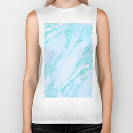 Teal Marble - Shimmery Glittery Turquoise Blue Sea Green Marble Metallic Biker Tank