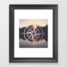 Rose Gold Compass Forest Framed Art Print
