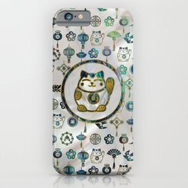 Maneki Neko Lucky cat on  pearl and abalone iPhone Case