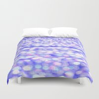 glitter Duvet Covers featuring Periwinkle Glitter Sparkle by WhimsyRomance&Fun