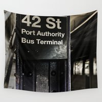 subway Wall Tapestries featuring 42nd street subway stop by Wood-n-Images