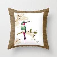 hummingbird Throw Pillows featuring hummingbird by Ariadne