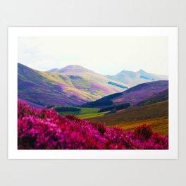 Beautiful Candy Land Fairytale Fantasy Landscape Purple pink Flowers Rolling Hills Moutains Art Print