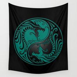 Teal Blue and Black Yin Yang Dragons Wall Tapestry