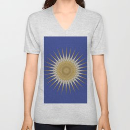 Bright Blue Gold Star Mandala Unisex V-Neck