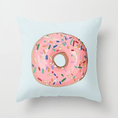 Strawberry Frost Donut Throw Pillow