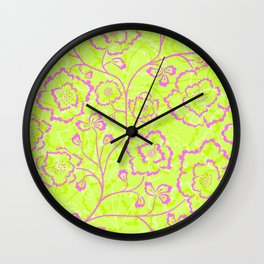Spring Flowers in Pink and Green Wall Clock