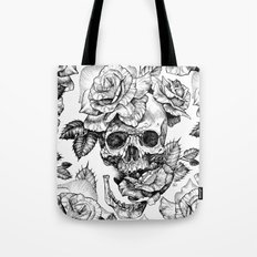 Black and White skull with roses pen drawing Tote Bag