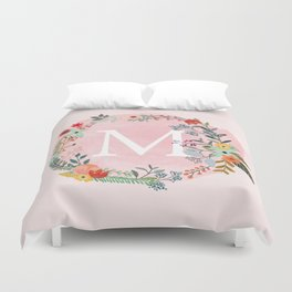 Flower Wreath with Personalized Monogram Initial Letter M on Pink Watercolor Paper Texture Artwork Duvet Cover