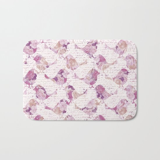 Vintage Flower Birds and handwriting pattern Bath Mat