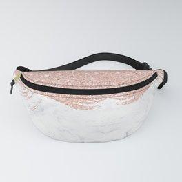 Trendy modern faux glitter rose gold brushstrokes white marble Fanny Pack