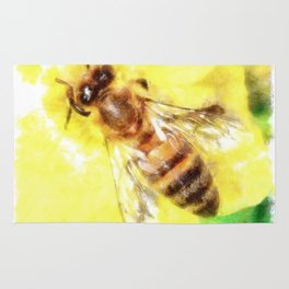 The Pollen Collector Honeybee Watercolor Rug