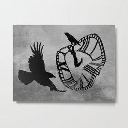 Clock Face Crow Flying Bird Steampunk Art Gothic Art A530 Metal Print