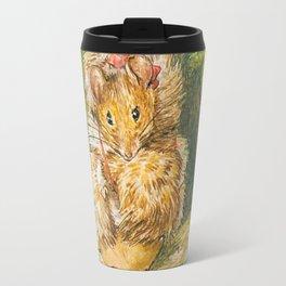Cute little mouse in a fur coat Travel Mug