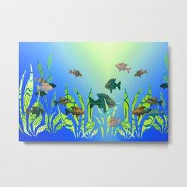 Modern Fish in the Aquarium Metal Print
