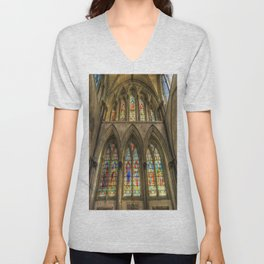 Rochester Cathedral Stained Glass Windows Unisex V-Neck