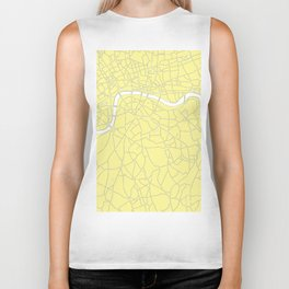 London Yellow on White Street Map Biker Tank