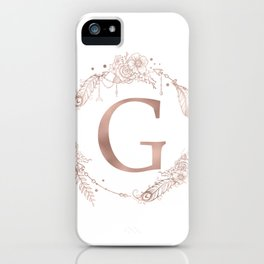 Letter G Rose Gold Pink Initial Monogram iPhone Case