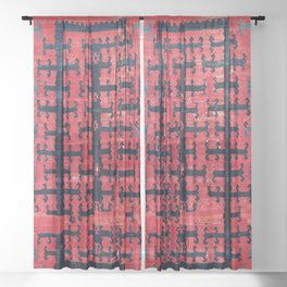 Yüncü  Antique Turkish Balikesir Kilim Rug Print Sheer Curtain