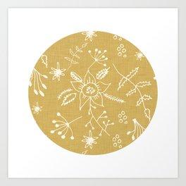 Winter Floral Beige Art Print