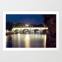 Bridges of Paris by Night Art Print