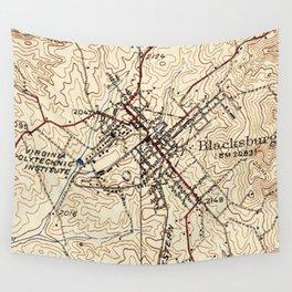 Vintage Map of Blacksburg Virginia (1932) Wall Tapestry