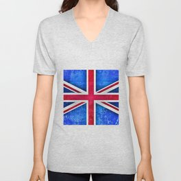 Grunge British Flag Unisex V-Neck