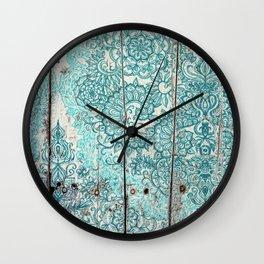 Teal & Aqua Botanical Doodle on Weathered Wood Wall Clock