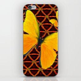 YELLOW BUTTERFLIES BROWN ART iPhone Skin