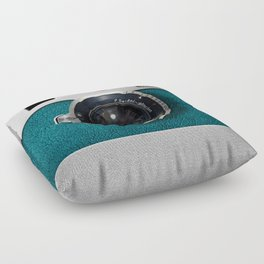 Blue Teal retro vintage camera with germany lens Floor Pillow