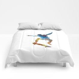Man skateboard 01 in watercolor Comforters