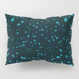 Heavenly iridescent drops and petals on a black background in nacre. Pillow Sham