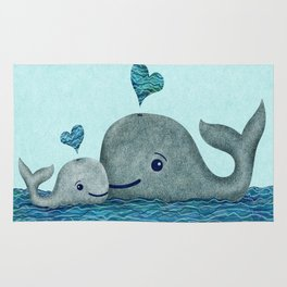 Whale Mom and Baby with Hearts in Gray and Turquoise Rug