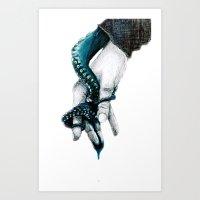 kraken Art Prints featuring kraken by Kate McHugh