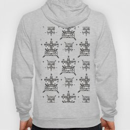 Baron Samedi Voodoo Veve Symbols in White Hoody
