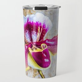 Wild Pink and Yellow Lady Slipper Flower Travel Mug