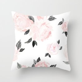 Vintage Blush Floral - BW Throw Pillow